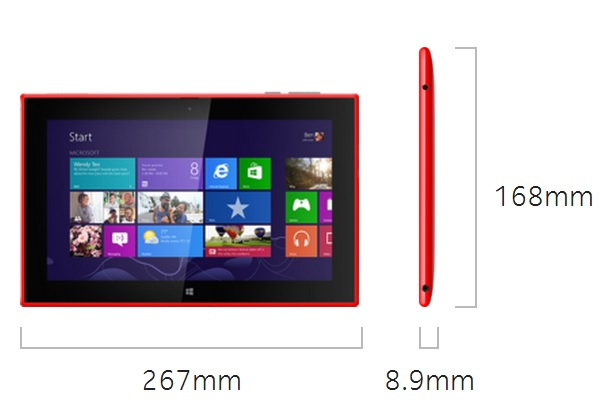 Nokia Lumia 2520 Dimensions
