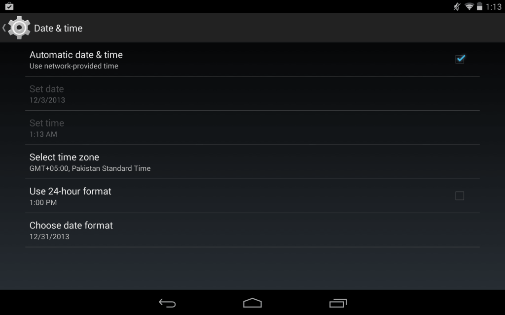 Date and Time Settings Android