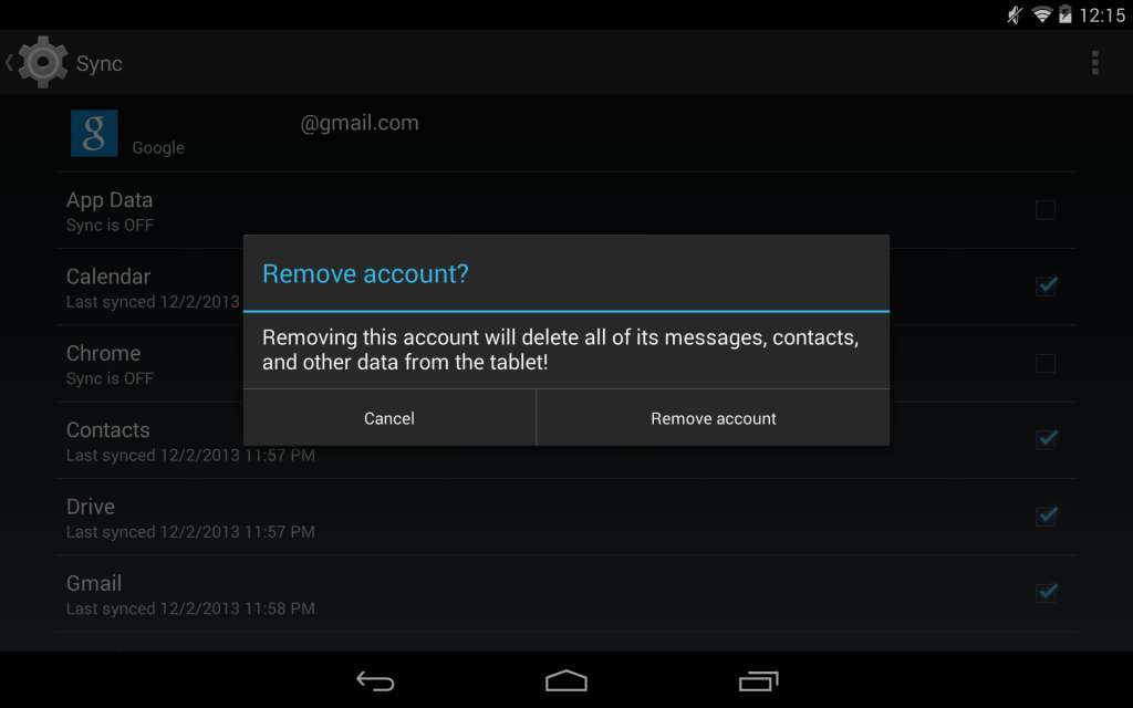 Remove Google Account in Android