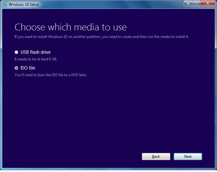 Outil de création de médias Windows 10