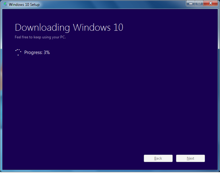 Windows 10 ISO downloading