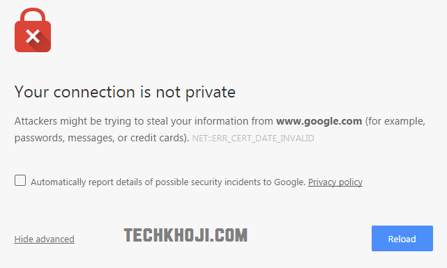 Connection is not private chrome