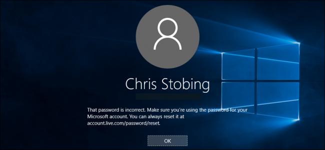 Mauvais mot de passe Windows 10