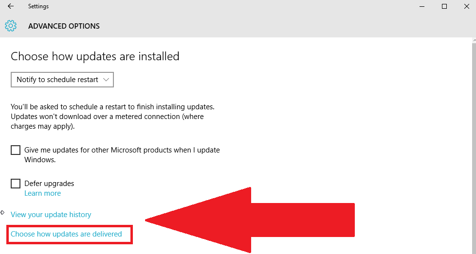 Windows 10 P2P Windows Updates