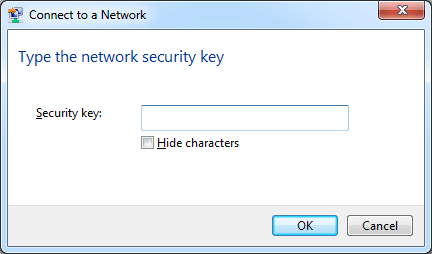 Enter Wireless Security Key Windows
