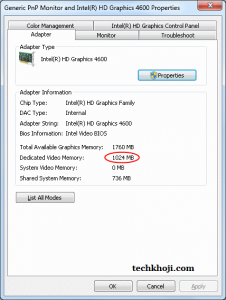 dedicated video memory Intel HD Graphics